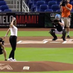 Ceremonial First Pitch Lands Wide Left, But Miami Marlins Marriage Proposal Hits the Mark